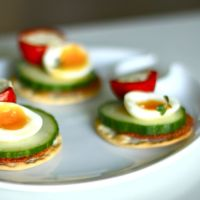 Quail Egg and Stuffed Pepper Canapes
