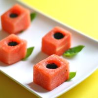 Watermelon, Basil and Balsamic Canapes