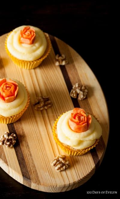 Carrot Rose Cupcakes
