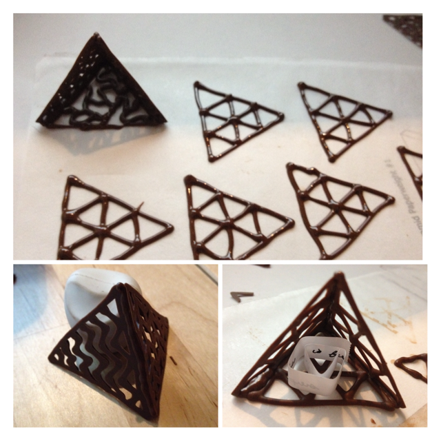 Chocolate pyramids progress for Chocolate lace template